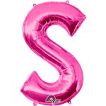 "Pink Letter S Balloon - 34"" Foil"