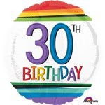 "30th Birthday Rainbow Balloon - 18"" Foil"