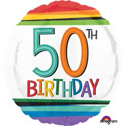 "50th Birthday Rainbow Balloon - 18"" Foil"