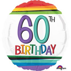 "60th Birthday Rainbow Balloon - 18"" Foil"