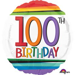 "100th Birthday Rainbow Balloon - 18"" Foil"