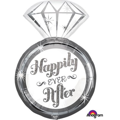 "Happily Ever After Ring SuperShape Balloon - 27"" Foil"
