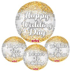 "Wedding Confetti Orbz Balloon - 16""-18"" Foil"