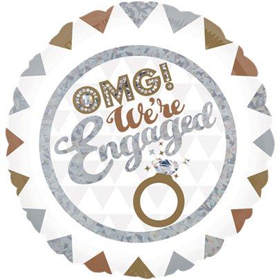 "OMG We're Engaged Holographic Foil Balloon - 18"" Foil"