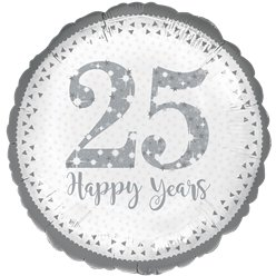 "25th Silver Wedding Anniversary Balloon - 18"" Foil"