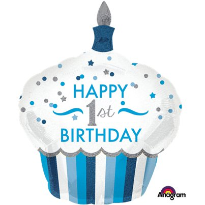 1st Birthday Boy Cupcake Supershape Balloon - 29""