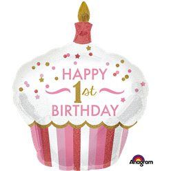 1st Birthday Girl Cupcake Supershape Balloon - 29""