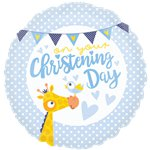 "Blue Christening Day Balloon - 18"" Foil"