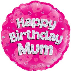 "Happy Birthday Mum Pink Balloon - 18"" Foil"