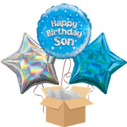 Son Happy Birthday Balloon Bouquet - Delivered Inflated