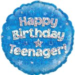 "Happy Birthday Teenager Blue Balloon - 18"" Foil"