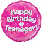 "Happy Birthday Teenager Pink Balloon - 18"" Foil"