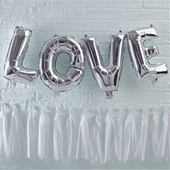 "Pick & Mix Love Silver Balloon Bunting - 12"" Foil"