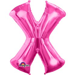 "Pink Letter X Balloon - 34"" Foil"