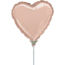 "Rose Gold Mini Heart Airfilled Balloon - 9"" Foil"