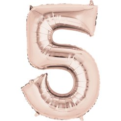 "Rose Gold Number 5 Balloon - 34"" Foil"