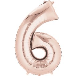 "Rose Gold Number 6 Balloon - 34"" Foil"
