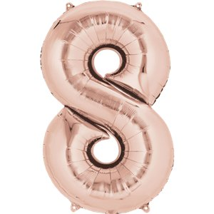 Rose Gold Number 8 Balloon - 34