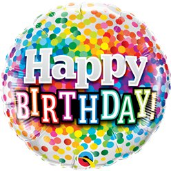 "Happy Birthday Rainbow Confetti Balloon - 18"" Foil"