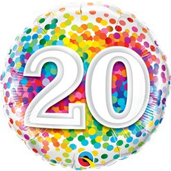 "20th Birthday Rainbow Confetti Balloon - 18"" Foil"