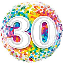 "30th Birthday Rainbow Confetti Balloon - 18"" Foil"