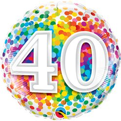 "40th Birthday Rainbow Confetti Balloon - 18"" Foil"
