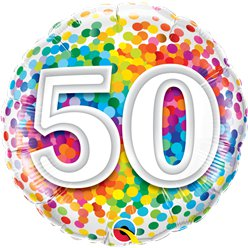 "50th Birthday Rainbow Confetti Balloon - 18"" Foil"