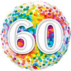 "60th Birthday Rainbow Confetti Balloon - 18"" Foil"