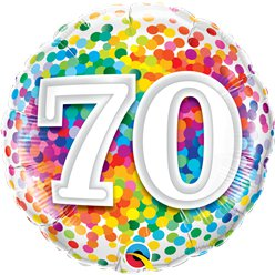 "70th Birthday Rainbow Confetti Balloon - 18"" Foil"