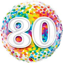 "80th Birthday Rainbow Confetti Balloon - 18"" Foil"
