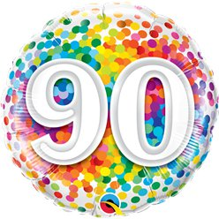 "90th Birthday Rainbow Confetti Balloon - 18"" Foil"