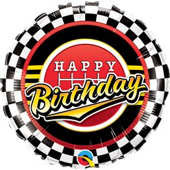 "Happy Birthday Racing Chequered Balloon - 18"" Foil"