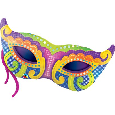 "Mardi Gras Mask SuperShape Balloon - 38"" Foil"