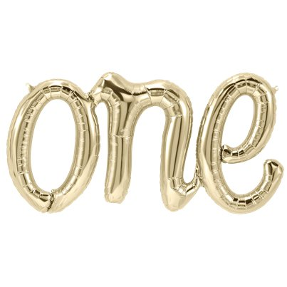 One White Gold Script Phrase Balloon - 30