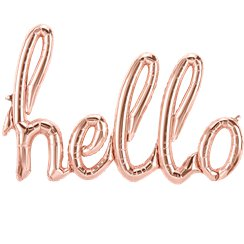 "Hello Rose Gold Script Phrase Balloon - 47"" Foil"