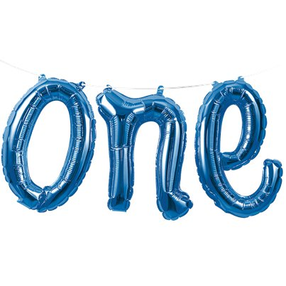 Age One Blue Phrase Balloon Bunting