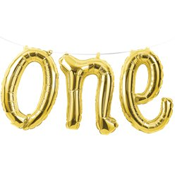 Age One Gold Phrase Balloon Bunting