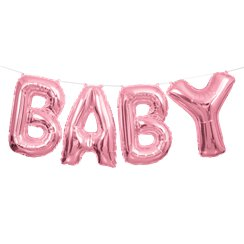 "Baby Pink Phrase Balloon Bunting - 14"" Foil"
