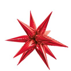 "Red 3D Starburst Balloon - 27"" Foil"