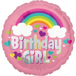 "Birthday Girl Rainbow Balloon - 18"" Foil"