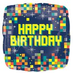 "Happy Birthday Pixels Balloon - 18"" Foil"
