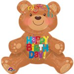 "Happy Birthday Sitting Bear Balloon - 19"" Foil"