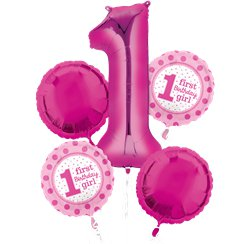 1st Birthday Girl Balloon Bouquet - Assorted Foil