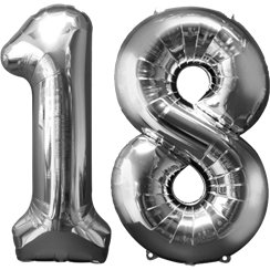 "Age 18 Silver Balloons - 34"" Foil"