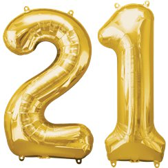 "Age 21 Gold Balloons - 34"" Foil"