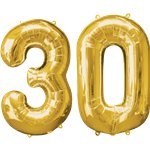 "Age 30 Gold Balloons - 34"" Foil"