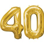 "Age 40 Gold Balloons - 34"" Foil"