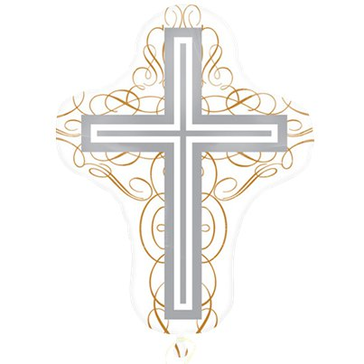 "Elegant Cross SuperShape Balloon - 23"" Foil"