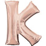 Rose Gold Letter K Balloon - 34 Foil