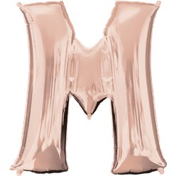 Rose Gold Letter M Balloon - 34 Foil